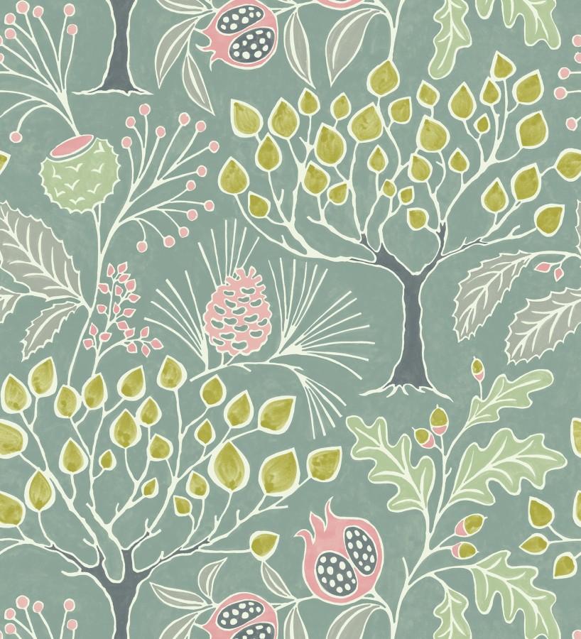 Papel pintado de frutos y árboles estilo nórdico Kayla Forest 680619