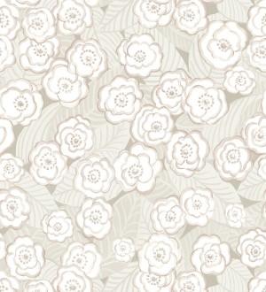 Papel pintado de flores color rosa pálido sobre fondo gris Helen Flowers 680620