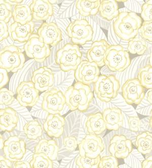 Papel pintado de flores amarillas sobre fondo gris Helen Flowers 680621