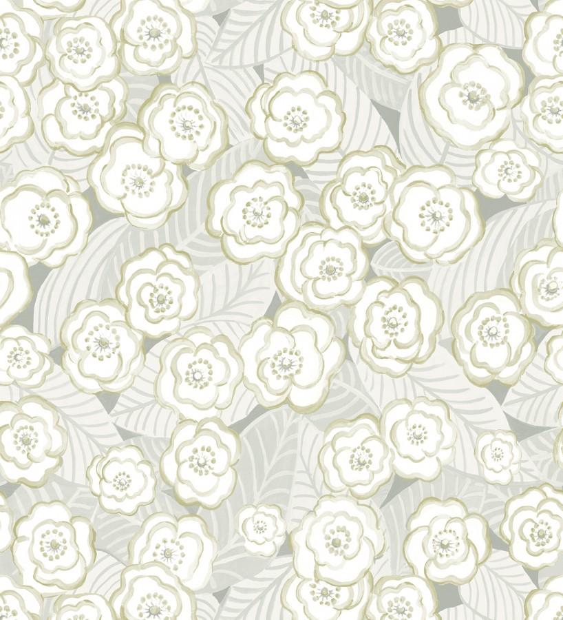 Papel pintado de flores gris verdoso sobre fondo gris Helen Flowers 680622