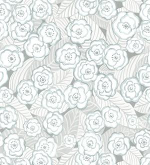 Papel pintado de flores color celeste sobre fondo gris Helen Flowers 680623