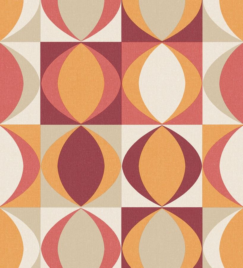 Papel pintado geométrico de estilo retro Hedron Hall 680629