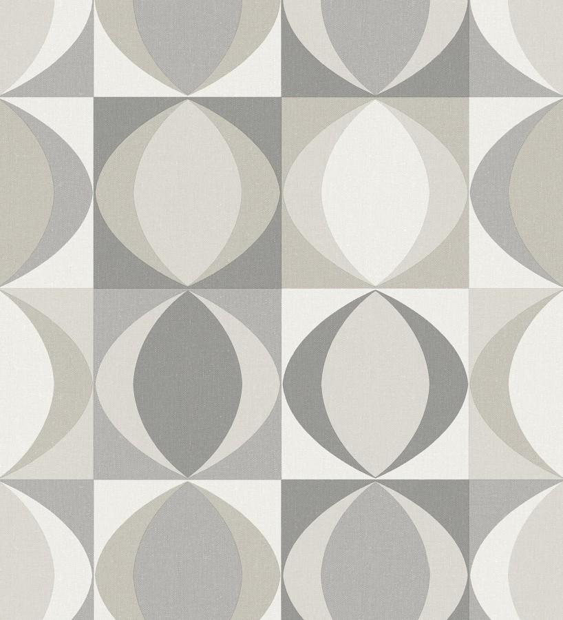 Papel pintado geométrico de estilo retro Hedron Hall 680630