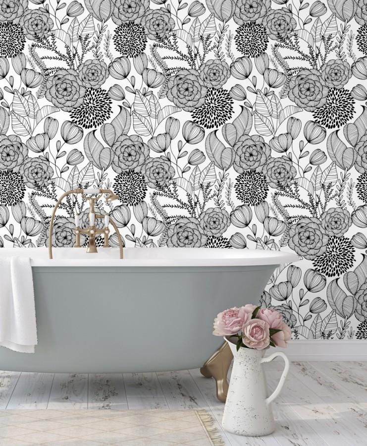 Papel pintado de flores dibujadas a trazos estilo art déco Morgan Flowers 680640
