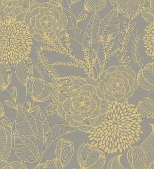 Papel pintado de flores dibujadas a trazos estilo art déco Morgan Flowers 680641