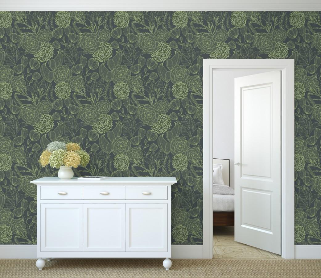 Papel pintado de flores dibujadas a trazos estilo art déco Morgan Flowers 680642