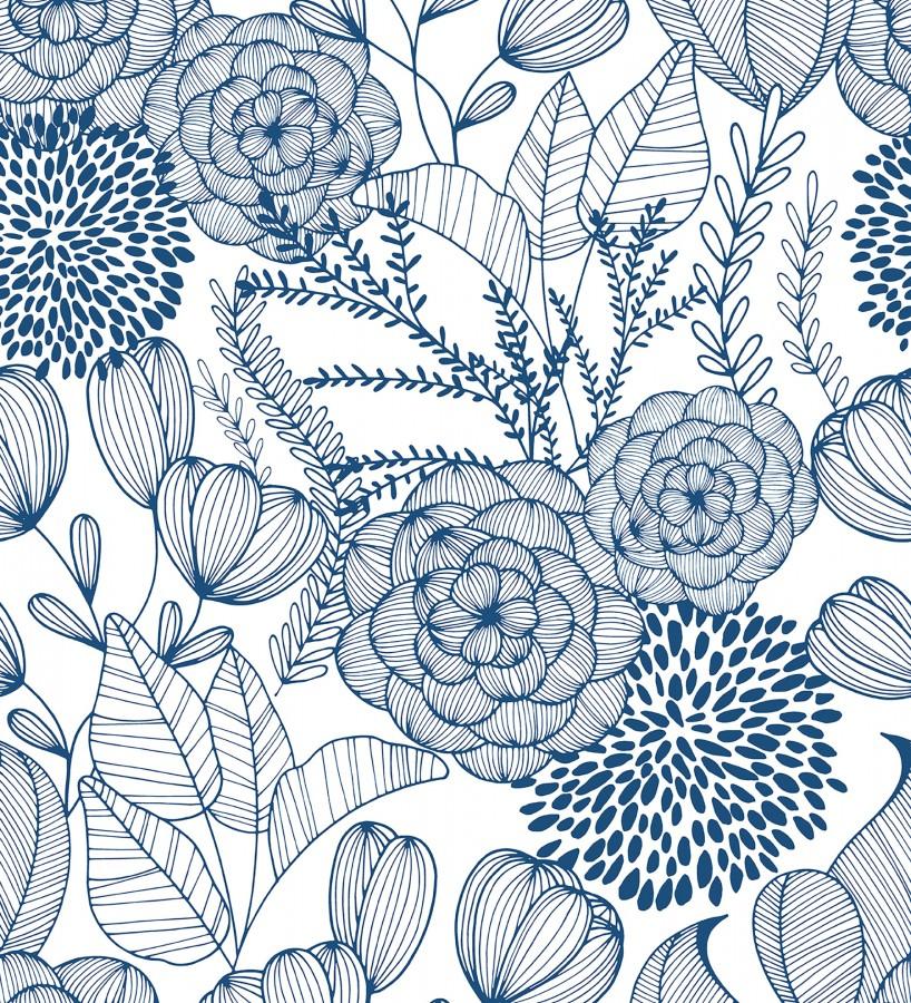 Papel pintado de flores dibujadas a trazos estilo art déco Morgan Flowers 680643