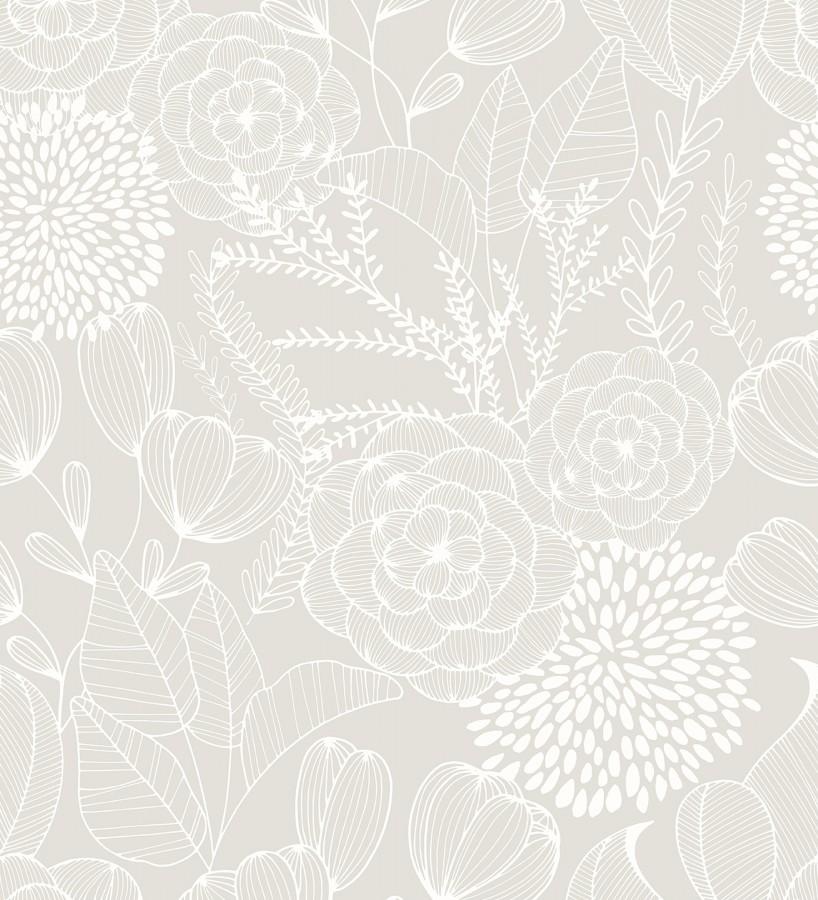 Papel pintado de flores dibujadas a trazos estilo art déco Morgan Flowers 680644