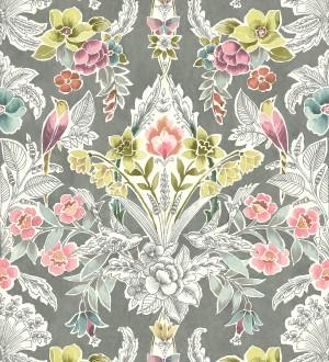 Papel pintado romántico de flores y pájaros estilo inglés Kensington Floral 680645