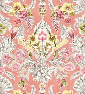 Papel pintado romántico de flores y pájaros estilo inglés Kensington Floral 680646