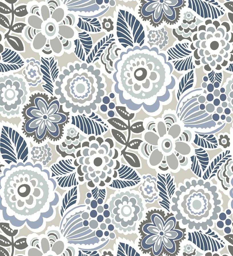 Papel pintado de flores y hojas estilo nórdico Valley Flowers 680649