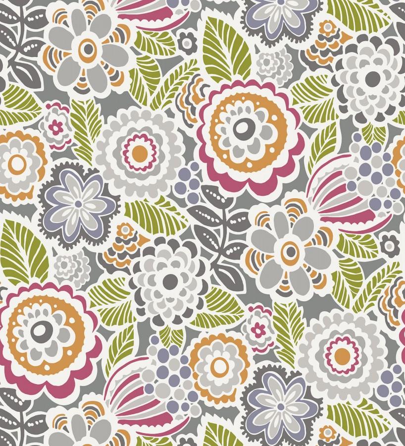 Papel pintado de flores y hojas estilo nórdico Valley Flowers 680650