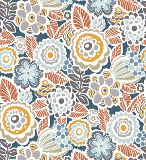 Papel pintado de flores y hojas estilo nórdico Valley Flowers 680651