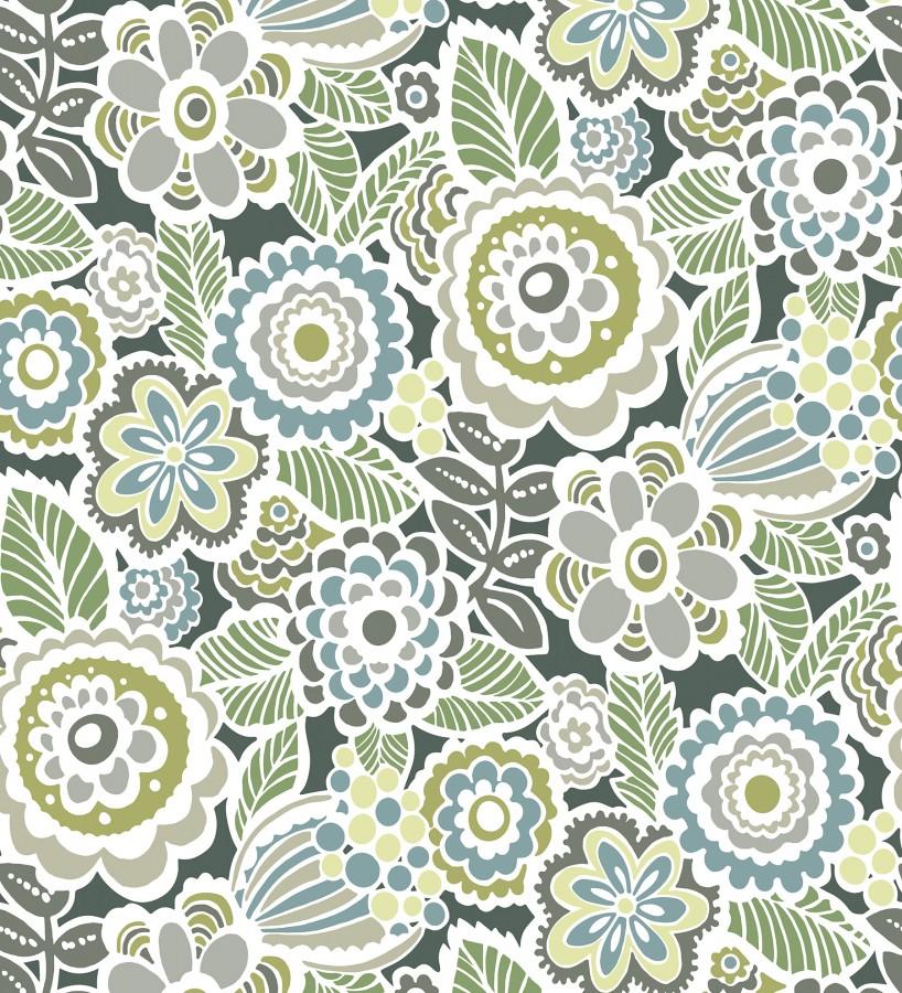 Papel pintado de flores y hojas estilo nórdico Valley Flowers 680652