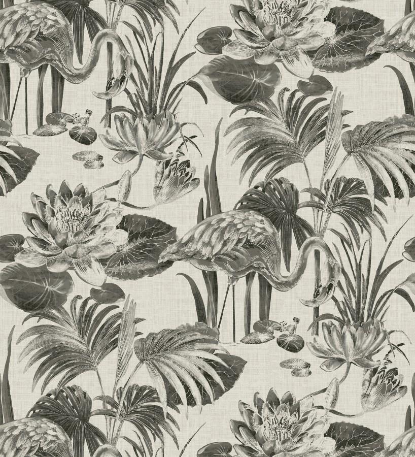 Papel pintado de flamencos y plantas de humedal Flamingo Palace 680665