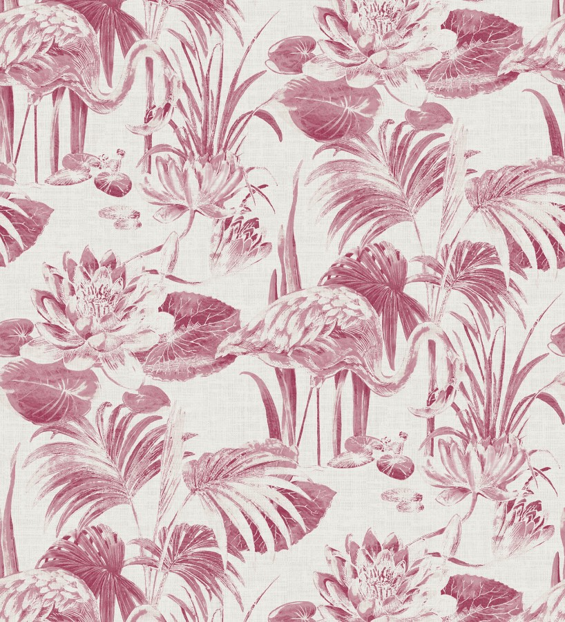 Papel pintado de flamencos y plantas de humedal Flamingo Palace 680667