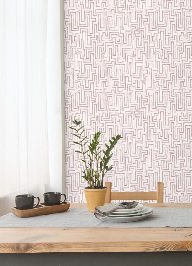 Papel pintado abstracto de formas de laberinto Nevinson 680686