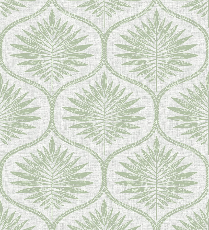 Papel pintado damasco con dibujo de hojas Forest Ornaments 680701