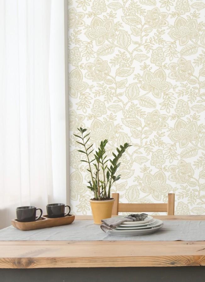 Papel pintado de flores dibujadas con estilo victoriano Victorian Flowers 680714