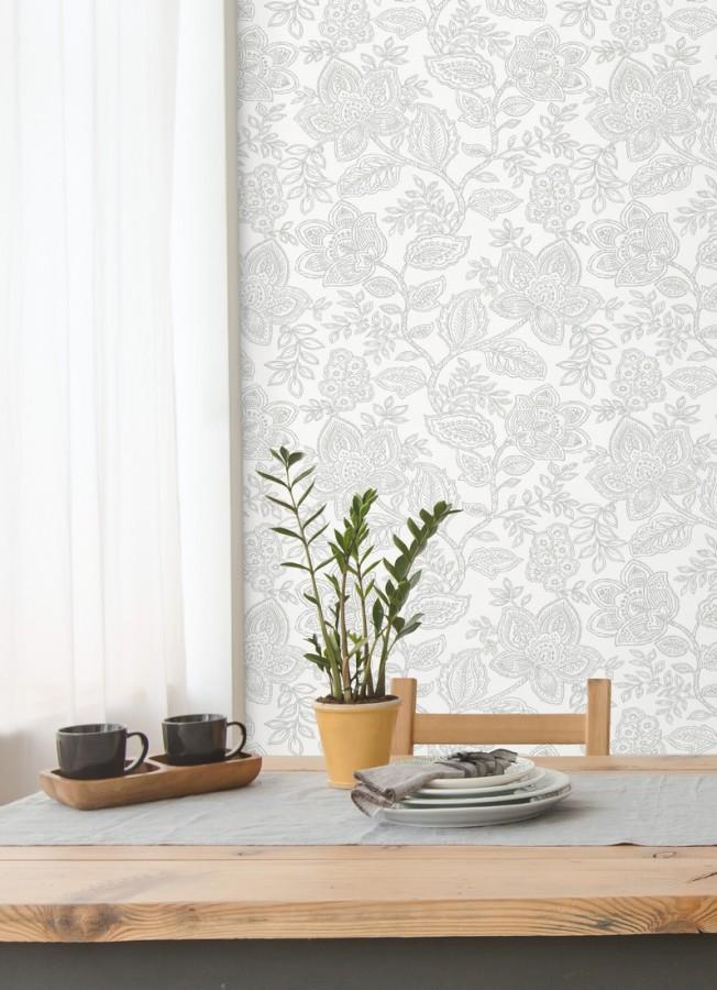 Papel pintado de flores dibujadas con estilo victoriano Victorian Flowers 680715