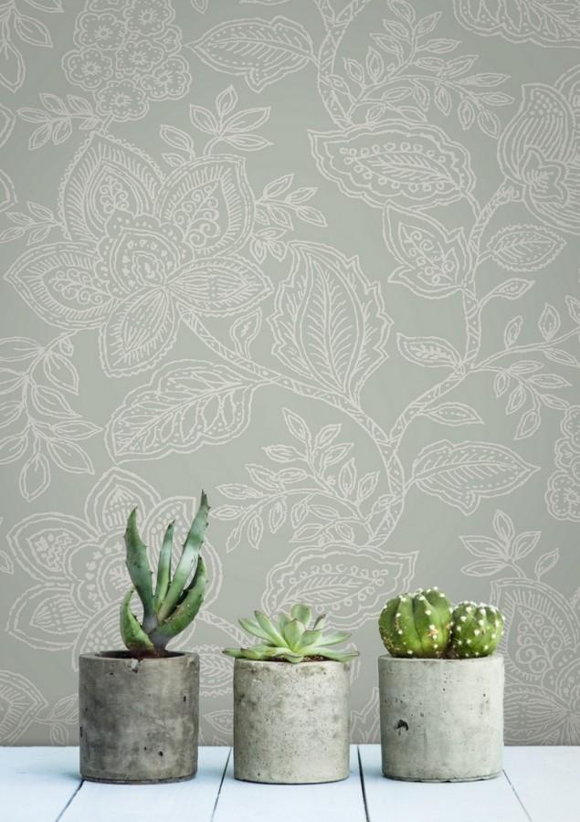 Papel pintado de flores dibujadas con estilo victoriano Victorian Flowers 680718