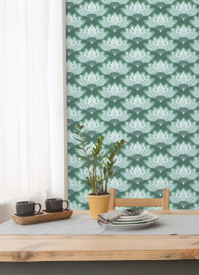 Papel pintado ramilletes de hojas estilo retro Oliver Garden 680735