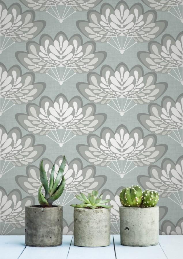 Papel pintado ramilletes de hojas estilo retro Oliver Garden 680737