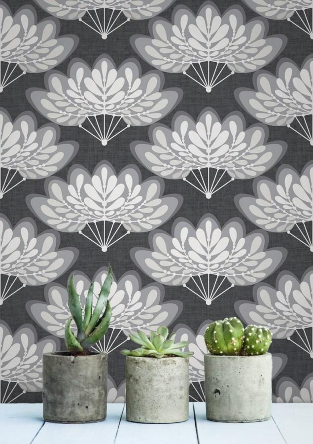 Papel pintado ramilletes de hojas estilo retro Oliver Garden 680738