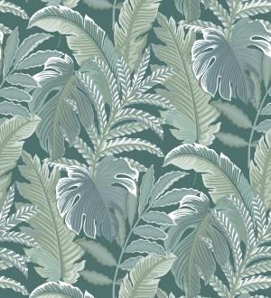 Papel pintado con dibujos de hojas tropicales Palmer Hill 680739