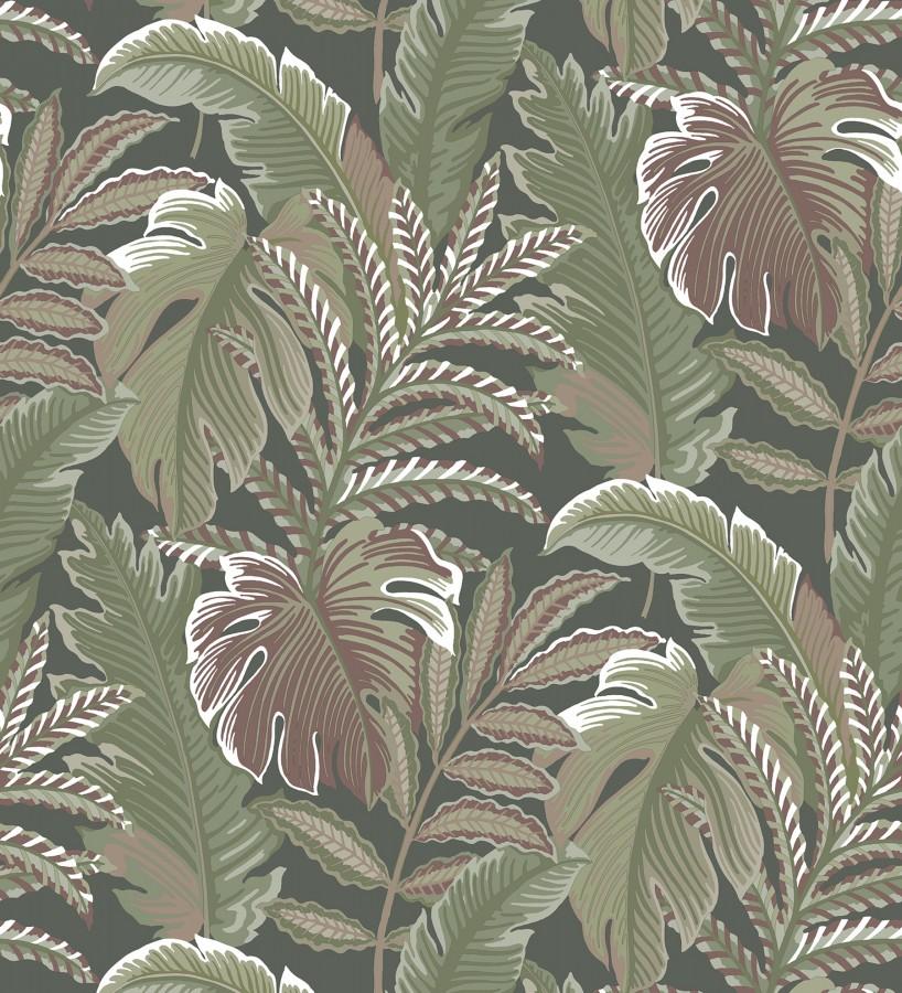 Papel pintado con dibujos de hojas tropicales Palmer Hill 680741