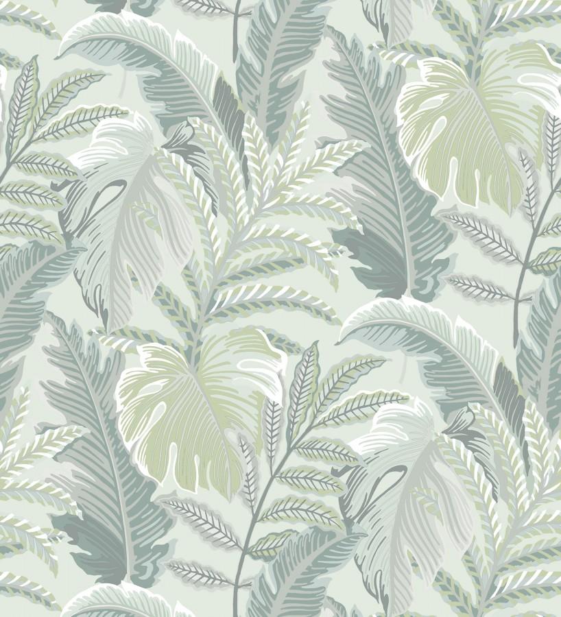 Papel pintado con dibujos de hojas tropicales Palmer Hill 680742
