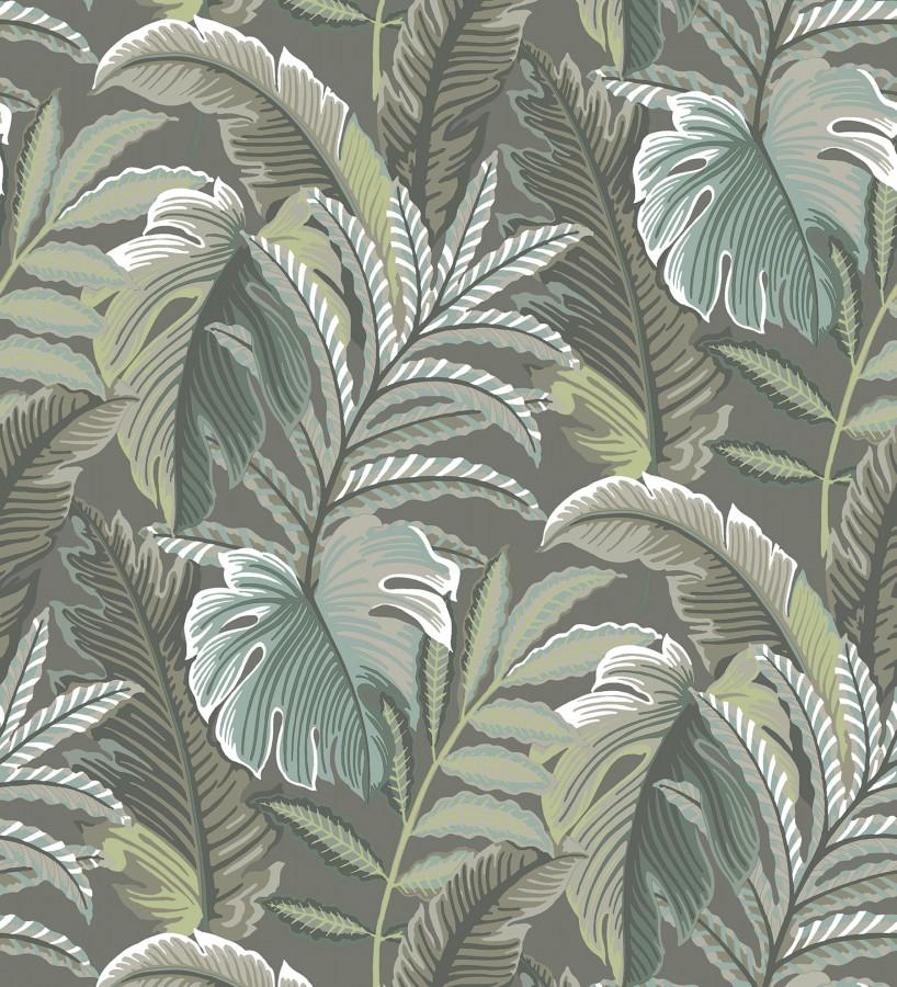 Papel pintado con dibujos de hojas tropicales Palmer Hill 680743
