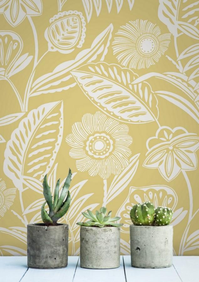 Papel pintado de flores modernas con colores tropicales Beach Garden 680746