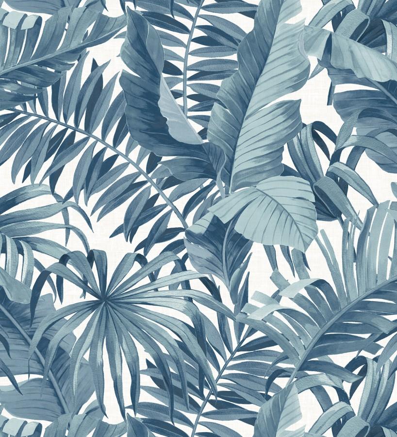 Papel pintado de hojas tropicales azules Palm Beach 680752