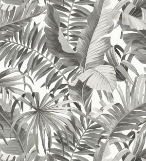 Papel pintado de hojas tropicales grises Palm Beach 680753