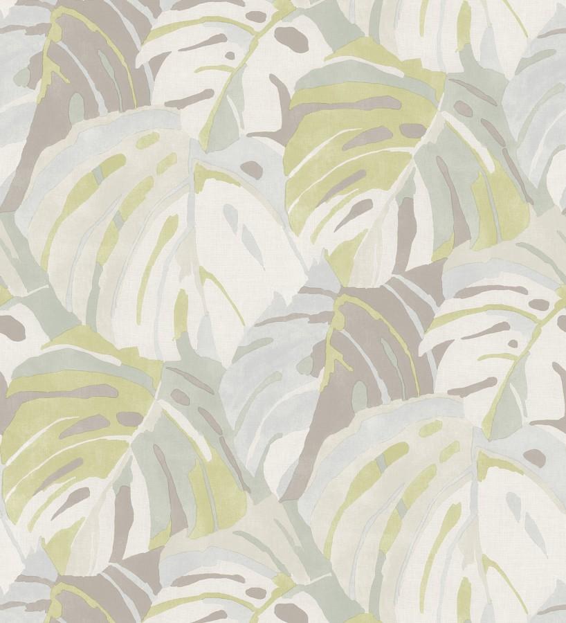Papel pintado de hojas tropicales grandes estilo pop art Tropical Island 680774