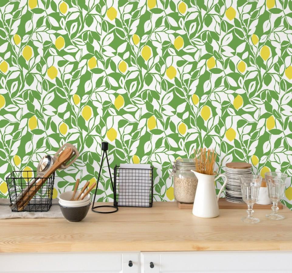 Papel pintado hojas y limones estilo pop art Lemon Garden 680787