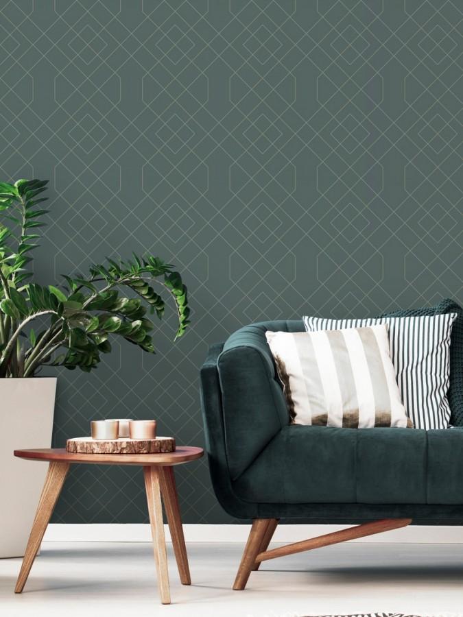 Papel pintado geométrico de líneas metalizadas estilo art deco Hampton 680835