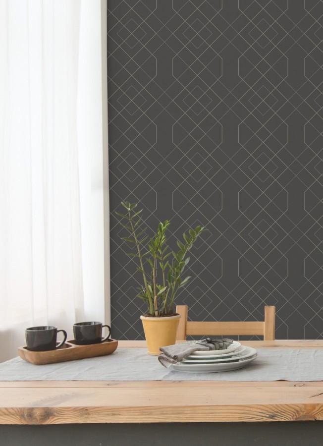 Papel pintado geométrico de líneas metalizadas estilo art deco Hampton 680836