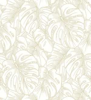 Papel pintado silueta hojas grandes de monstera con pintura de oro Palm River 680881
