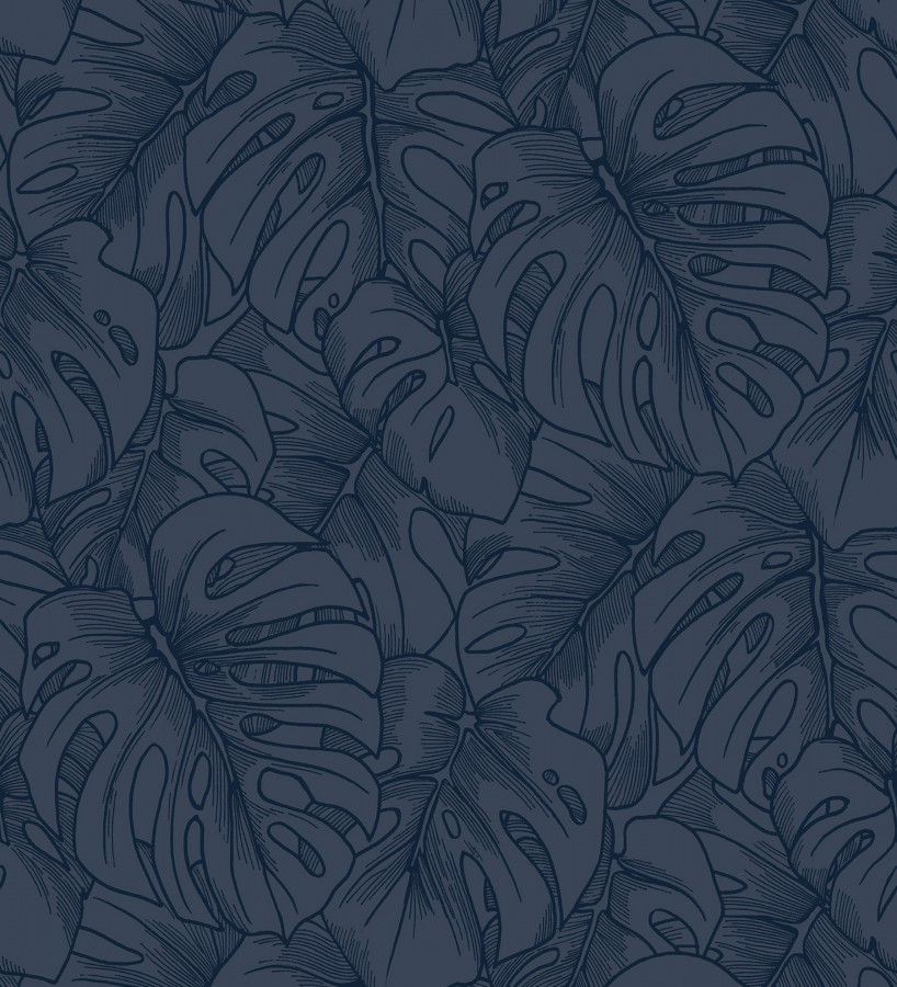 Papel pintado silueta hojas grandes de monstera en terciopelo azul Palm River 680882