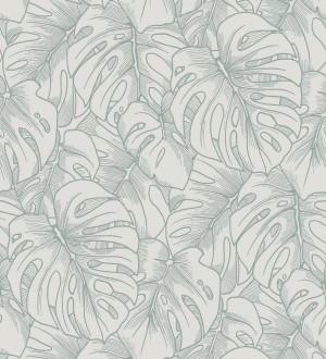 Papel pintado silueta hojas grandes de monstera en terciopelo verde Palm River 680883
