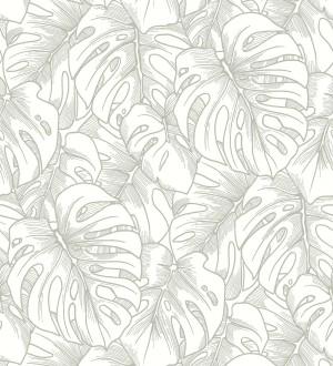 Papel pintado silueta hojas grandes de monstera con pintura de plata Palm River 680884