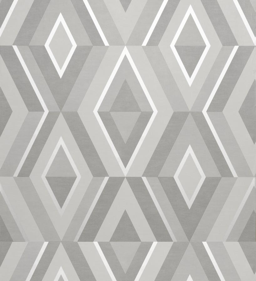 Papel pintado geométrico moderno con detalles metalizados Diamond Palace 680907