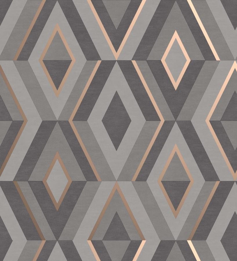 Papel pintado geométrico moderno con detalles metalizados Diamond Palace 680908