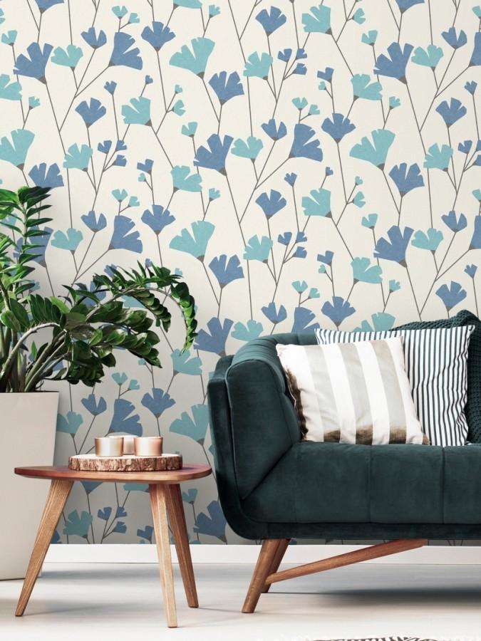 Papel pintado de flores silvestres estilo nórdico Sophie Garden 680919