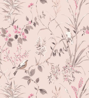 Papel pintado de ramas y pájaros estilo romántico Alison Garden 680929
