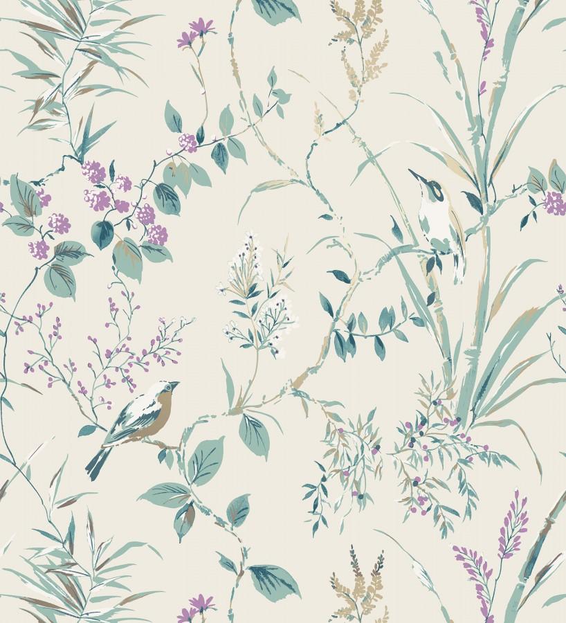 Papel pintado de ramas flores y pájaros estilo romántico Alison Garden 680930