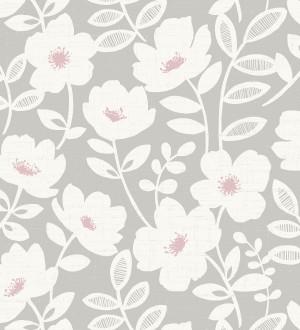 Papel pintado de flores blancas fondo gris Capitol Garden 680942