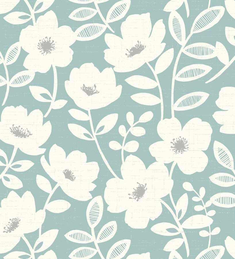 Papel pintado de flores blancas fondo celeste Capitol Garden 680943